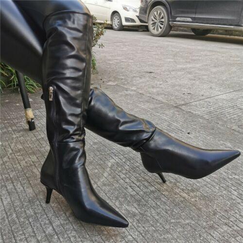 Womens Knee-High Boots Kitten Heel Booties Pointed Toe Shoes Side Zip UK 2.5-10