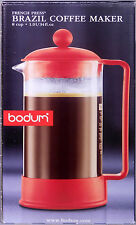 Bodum Coffee Maker BRAZIL FRENCH PRESS 8 Cup Red 1548-294US NEW IN BOX