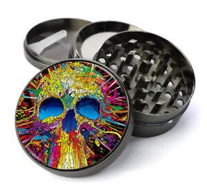 55mm 2.1 inch Titanium 4 Part Grinder with Crystal Doming Design Trippy Skull 3