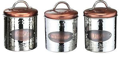 Apollo hermétique Couvercles Boîtes Set De 3 Thé Café Sucre en Acier Inoxydable Crème