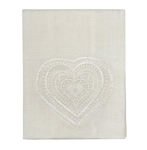 Tende finestre portafinestra coppia 2pz più misure tessuto lino cuore pizzo