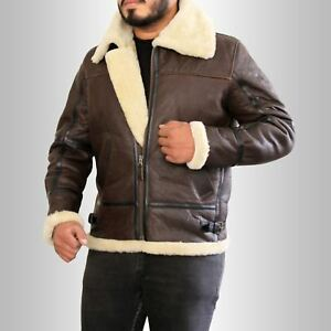 Men-039-s-Winter-B3-WWII-Pilot-Cream-Shearling-Brown-Real-Leather-Flying-Jacket