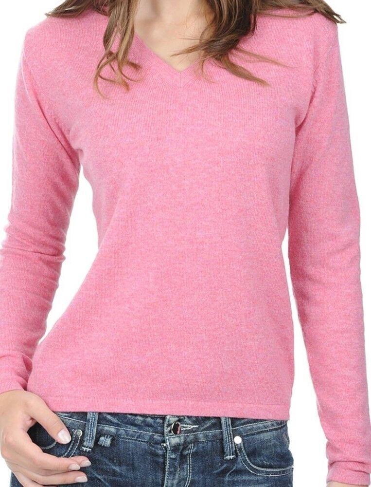 Balldiri 100% Cashmere Donna Maglione 2-fädig scollo a V rosa rosa rosa S 211bbf