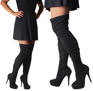 Sexy-Black-Over-Wide-Knee-Thigh-High-Heel-Fetish-Stiletto-Platform-Stretch-Boots