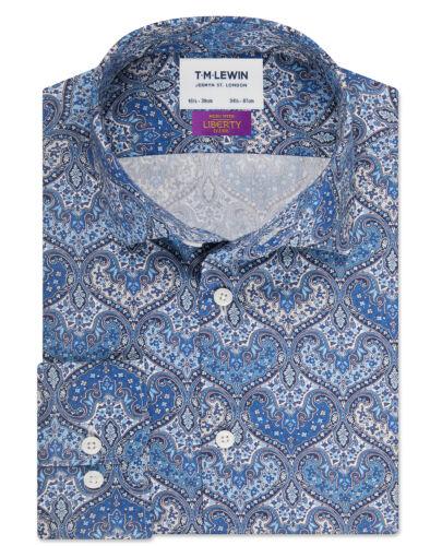 T.M.Lewin   Liberty Fabric Spitalfields Slim Fit Blue Shirt