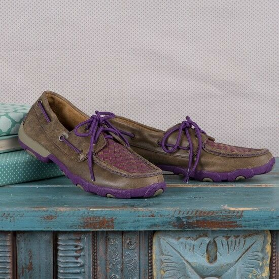 TWISTED X LEATHER WOMEN'S PURPLE BOMBER LEATHER X DRIVING MOCS WDM0025 28221e