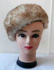 Vintage 1970's Cream, Brown-Tipped Sheepskin Fur Cossack Style Beret Winter Hat