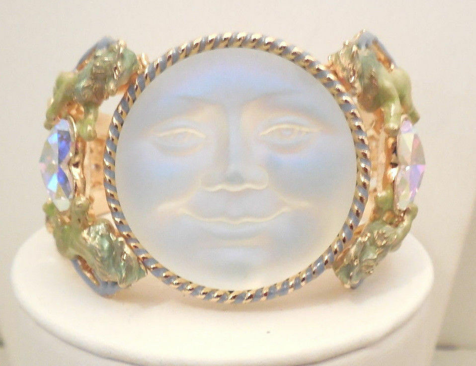 NEW KIRKS FOLLY RARE SEAVIEW MOON LION HEART CUFF BRACELET goldTONE