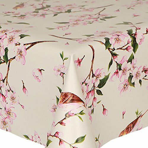 TRADITIONAL PINK GREEN BIRDS PVC WIPE CLEAN VINYL TABLE CLOTH COVER FLORAL PLAIN