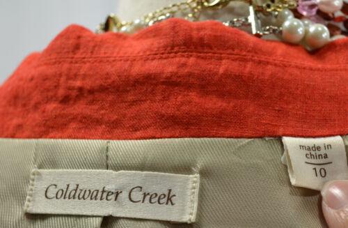 strutturato in 10 lino Blazer Blazer Coldwater Creek in non lungo Top 99 Nuovo arancione zWUq1