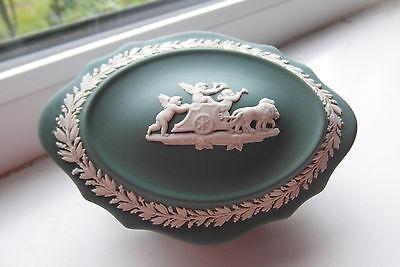 Wedgwood Trinket Dish Teal Jasperware Cherubs British