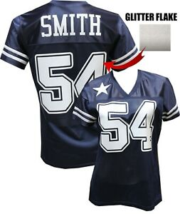 the latest 220ab 3a2dc Details about Custom Womens Blinged Football Navy/White Glitter Flake  Jersey, Jaylon Smith