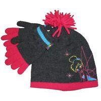 DISNEY FAIRIES TINKERBELL GREY/PINK WOOL HAT & GLOVES 2 PIECE SET 4-8 YEAR