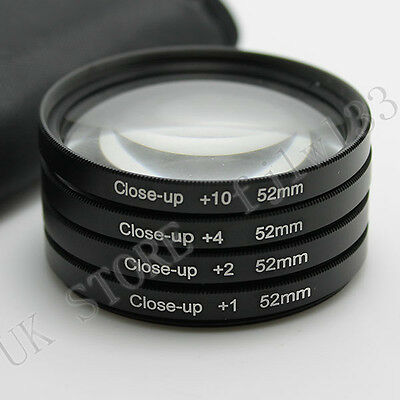 52MM Close Up Macro Lens Kit +1 +2 +4 +10 for DSLR SLR Digital Camera