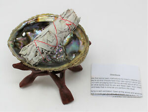 Abalone-Shell-6-034-Wood-Stand-White-Sage-Smudge-Stick-amp-Directions-Complete-Kit