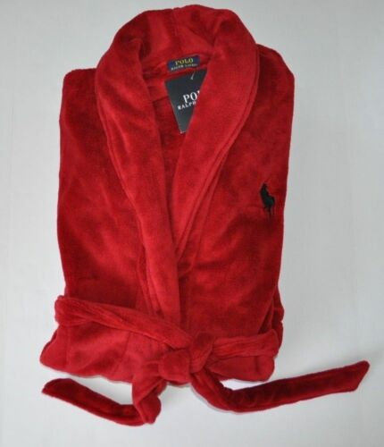 RALPH LAUREN POLO MEN LOUNGE PLUSH BATH ROBE SAUNA BIG PONY RED GIFT L XL XXL