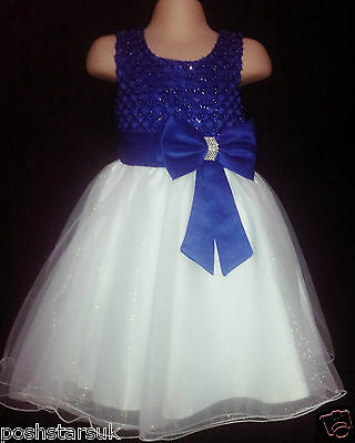 Royal Blue Ivory Christening Flower Girl Bridesmaid Pageant Party Dress 0-6m-13y