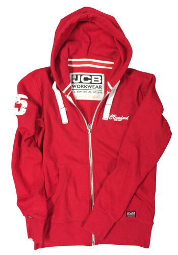 JCB Workwear Limited Edition Red Full Zip Hooded Top Hoody Hoodie Printed Logo