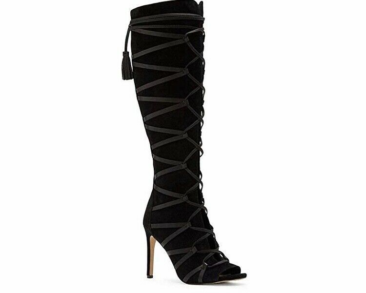 Vince Camuto CARSEY Suede Caged Over the Knee Boots 6.5 M