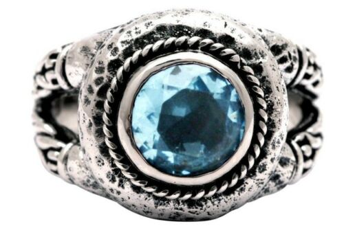 Devata Bali Heritage Classic Blue Topaz Sterling Silver 925 Ring SR779-1BT