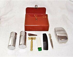men-039-s-vintage-genuine-cowhide-leather-grooming-amp-shaving-kit-safety-razor-vguc