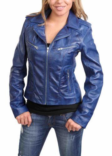 femmes coupe d'agneau bleu en ajustée Veste en véritable cuir véritable cuir pour xw68fp1Hqn