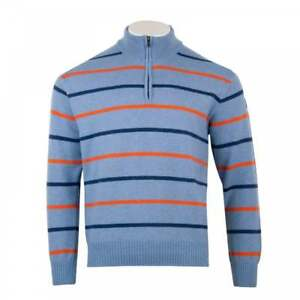 PAUL-amp-SHARK-Homme-Half-Zip-Stripe-Knit-Sweater-bleu