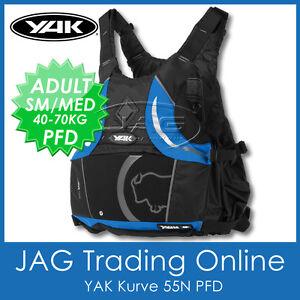 YAK KURVE BLACK/BLUE 55N ADULT S/M 40-70KG PFD Kayak Life Jacket Buoyancy Aid
