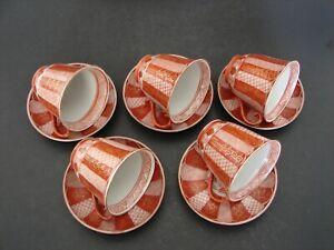 5 Antique Kutani Japanese Hand Painted Porcelain Tea Cups & Saucers Gold Trim