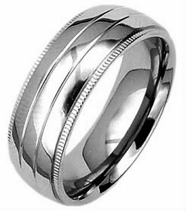Highly-Polished-PLAIN-TITANIUM-BAND-RING-with-ACCENTS-size-12-in-Gift-Box