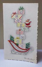Vintage Signed Christmas Greeting Card Glitter Presents Sleigh Cardinal Xmas