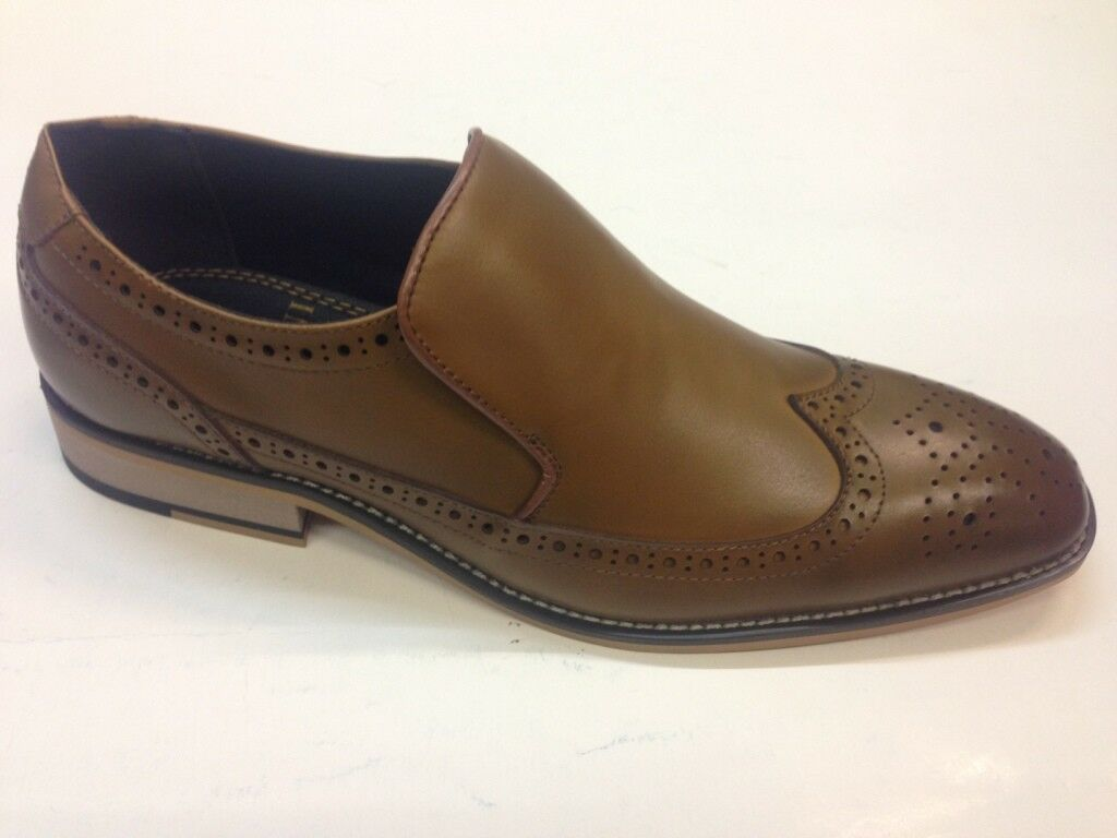 hombres Leather Tan Brogues Zapatos Vintage Look Look Look Stitched sole Slipons e6b053