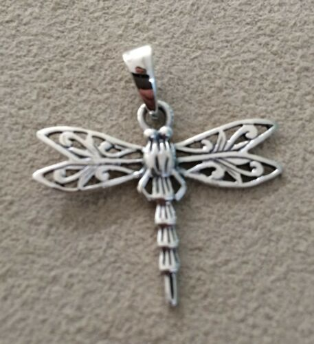 Funky 925 Sterling Silver Dragonfly Pendant with 16 or 18 Inch Silver Chain
