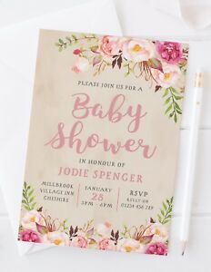 Image Is Loading 10 Baby Shower Invitations Personalised Fl Rustic Vintage