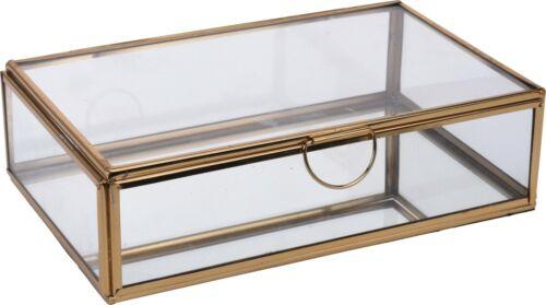 Gold Glas Schmuck Kästchen Quadrat Kiste mit Metallrahmen für