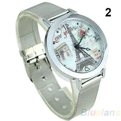 Women's Stylish Artistic Eiffel Tower Face Silver Band Quartz Wrist Watch B88U
