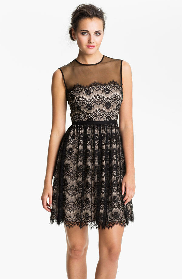Maggy London Lace Fit & Flare Dress ( size 8)