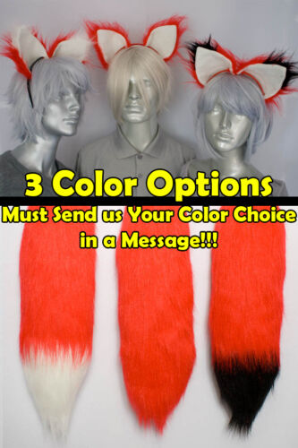 Red Furry Fox Tail and//or Ears Cosplay Accessories