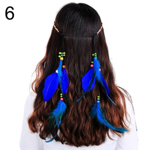 Bohemian Girls Peacock Feather Headband Braided Rope Hair Band Hippie Headdress
