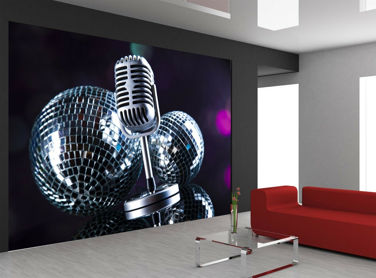 Microphone and Disco Balls  Photo Wallpaper Wall Mural DECOR Paper Poster