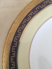 Coalport England Tiffany & Co Antique Raised Encrusted Gold Cobalt Lunch Plate