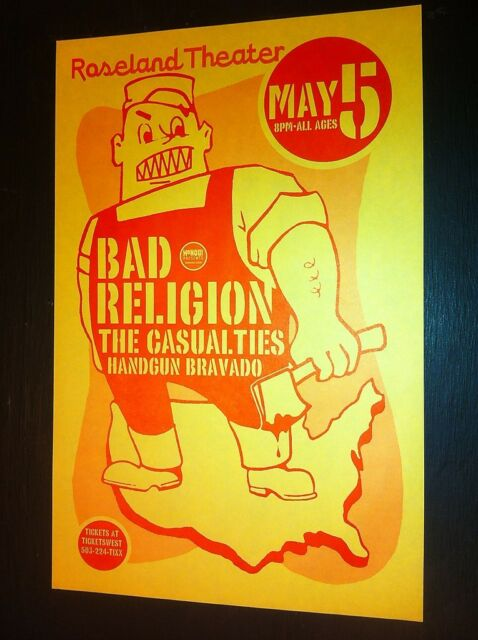 Bad Religion Casualties Rare Original Portland Punk Flyer Gig Concert Poster