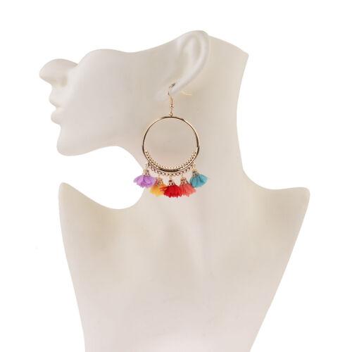 Women Bohemian Drop Flower Tassel Earrings Hook Women Round Bohemian Earrings