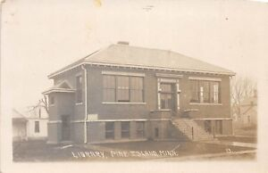 D46-Pine-Island-Minnesota-Mn-Real-Photo-RPPC-Postcard-c1910-Library-Building