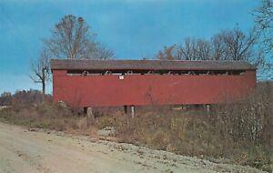 Stockheughter-Covered-Bridge-Salt-Creek-Enochsburg-Indiana-Vintage-Postcard-F04