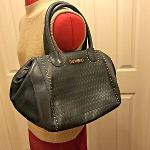 Image Is Loading Dumond Large Black Leather Silver Studded Satchel Bag