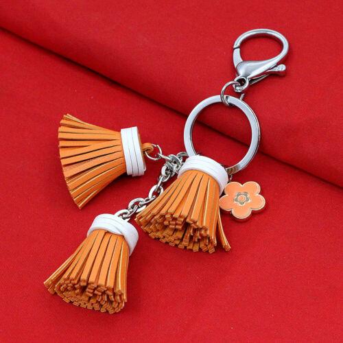 Women/'s Leather Tassel Flower Charm Key Chain Handbag Keyring Bag Accessory
