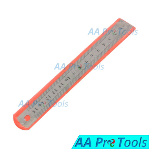 """2 Piece 6/"""" Double Sided Metal Steel Measuring Ruler SAE /& METRIC Scale 1//2/"""" Wide"""