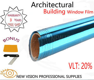 VLT 20% anti-heat Blue and Silver Mirror Reflective Building Window Tint Film