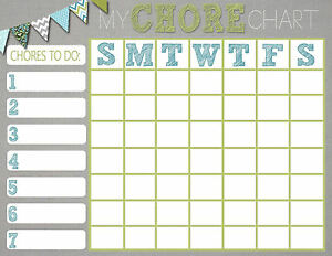 A5 magnetic children s my chore chart picture poster kids bedroom